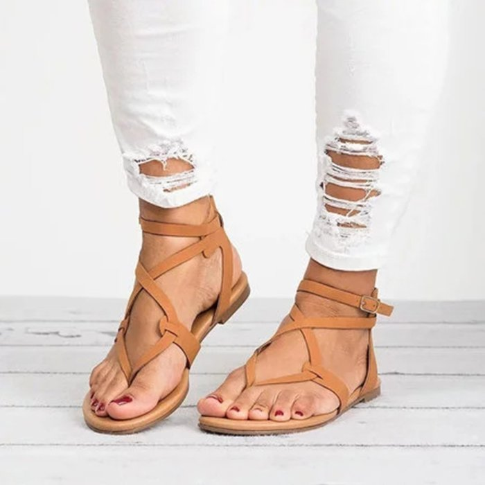 Large Size Adjustable Buckle Flat PU Sandals Woman Shoes