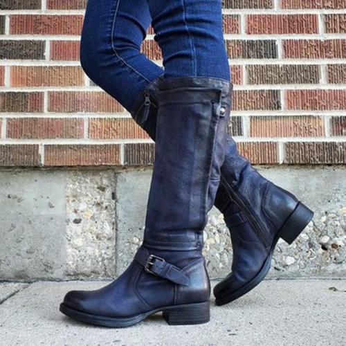 Chic Zipper Low-heel Riding Boots