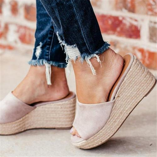 Fashion Woven Platform Wedge Slippers