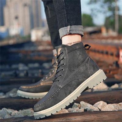 Business Fashion Casual Solid Color High Tube Men Martin Boot Shoes