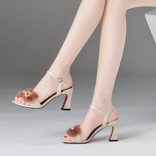 Summer Genuine Leather Imitation pearls Spool Heel Sandals