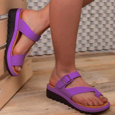 Women's PU Round Toe Low Wedge Heel Sandals
