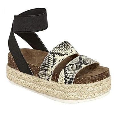 Womens Casual Pu Summer Buckle Wedge Heel Sandals
