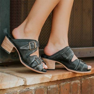 Vintage Summer Metal Buckle Chunky Heels Slippers