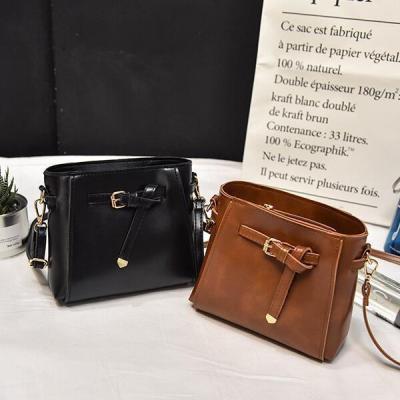 Vintage Crossbody Bag Bucket Bag Solid Retro Shoulder Bag