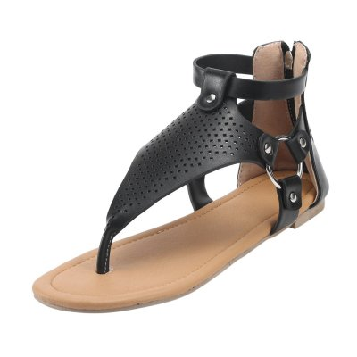 New Roman Lace Up Women's Sandals Hollow Flat Bottom Sandals Cross Border Zipper Shoes