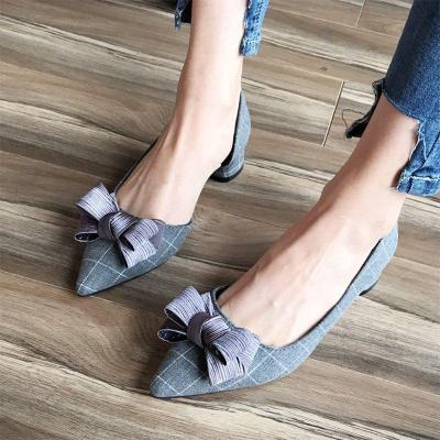Ladies Checkered Bowknot Chunky Heels