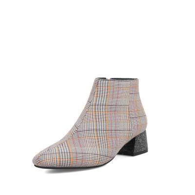 Women Elegant Plaid Print Side-zipper Chunky Heel Boots