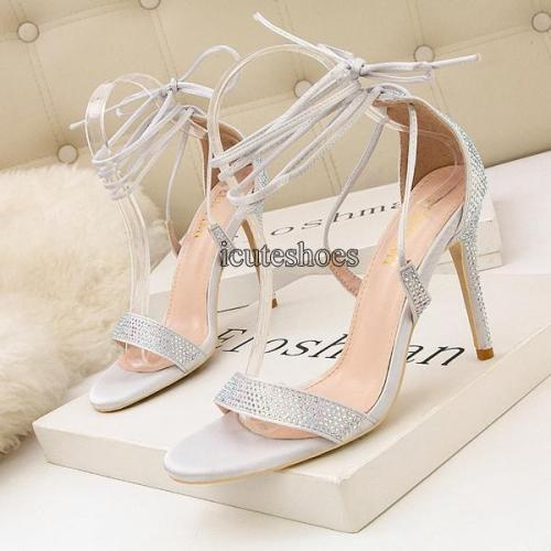 Summer Fashion High Heel Cross Strap Sexy Nightclub Rhinestone Sandals Women's Shoes