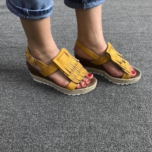 NEW WOMEN FASHION FRINGED WEDGE TASSEL ARTIFICIAL LEATHER SUMMER SHOES