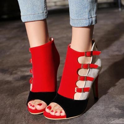 Stiletto Heel Color Block Zipper Peep Toe Women's Sandals