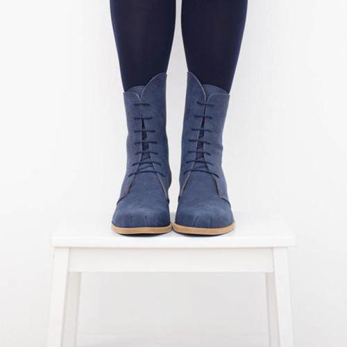 Blue Artificial Leather Women Lace-Up High-Tube Back Zipper Chunky Boots