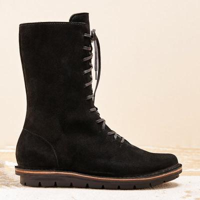 Women Winter Suede Lace-Up Knee-High Boots