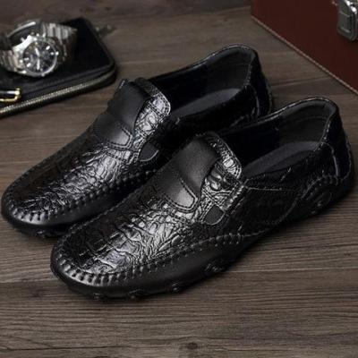 Cowhide Leather Daily Magic Tape Flat Heel Plus Size Casual Flats Loafer