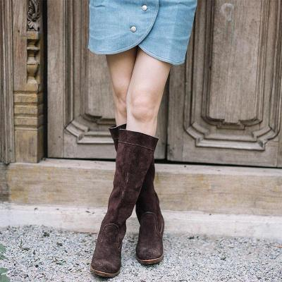 Women Simple Round Toe Knee-high Boots
