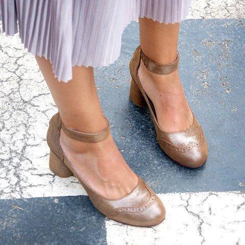 Round Toe Ankle Strap Medium Chunky Heels Sandals