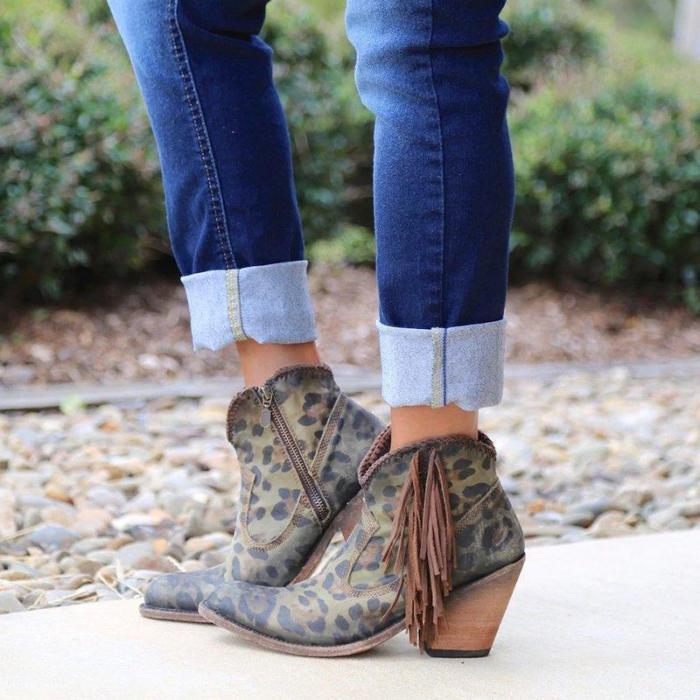 Fashion Leopard Tassel Low Heel Shoes Non-Slip Boots