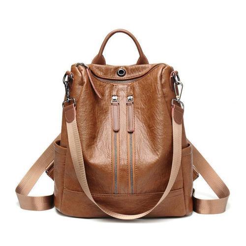 Solid Leisure Soft Multi-function Backpack Large Capacity Shoulder Bag
