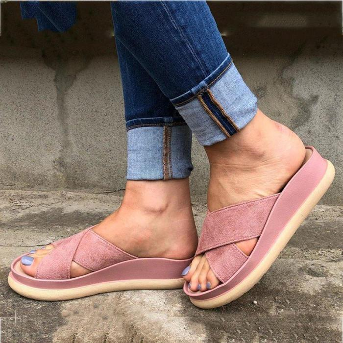Flat Heel Comfy Open Toe Slippers Plus Size Womens Shoes
