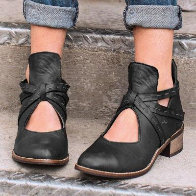 Women Vintage Fashion Winter Boots Hollow Out Shoes