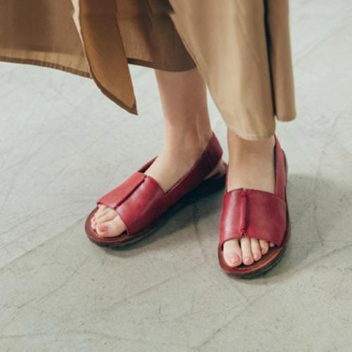 Summer Flat Artificiak Leather Peep Toe Casual Sandals