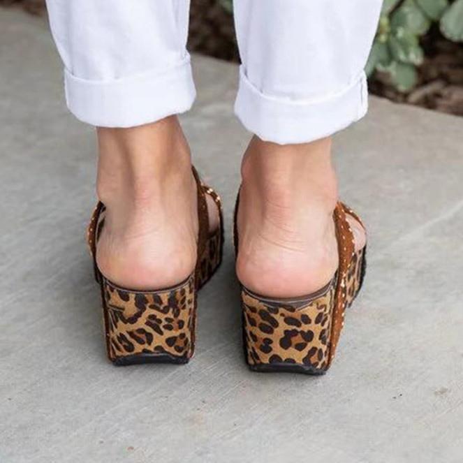 Rhinestone Chic Leopard Hollow Wedges Mule Sandals