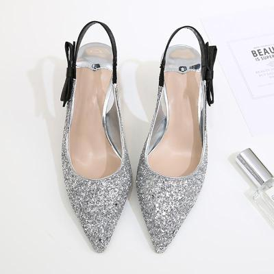 Spool Heel Sparkling Glitter Cocktail Party Pointed Toe Heels