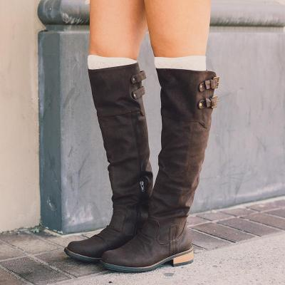Pu Double Monk Strap Knee-High Low Heel Boots