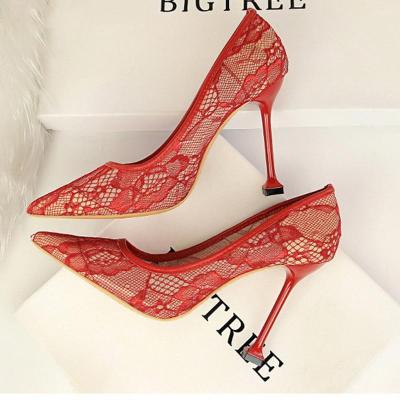 Sexy Lace Hollow Pointed Slim Heel Shoes