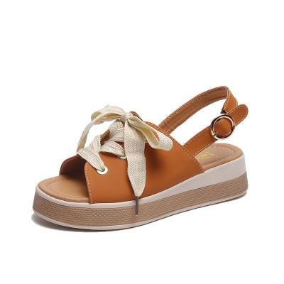 Summer New Women's Shoes Round Head Thick Bottom Fashion Buckle Comfortable Casual Ladies Sandals
