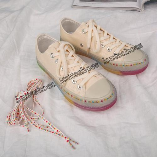 Transparent rainbow canvas shoes women new version shoes women