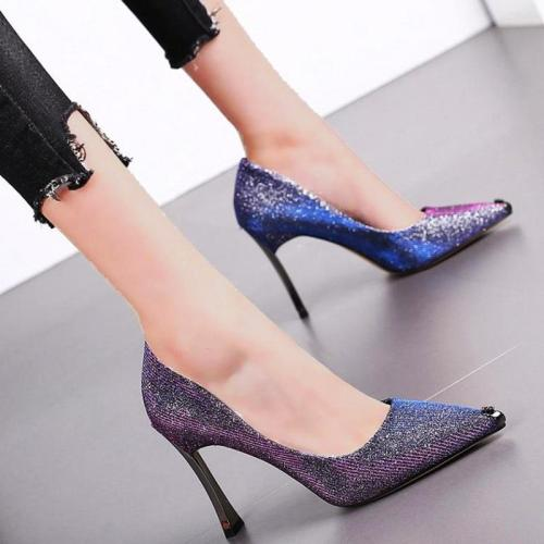 Women Sexy Pointed Toe Sequin Pumps Stilettos