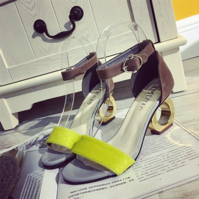 New Women's High-heeled Sandals Summer Personality Chunky Heel One Word Color Matching Peep Toe