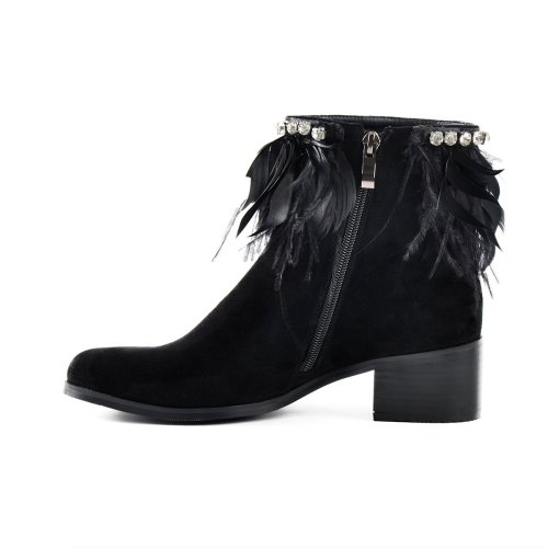 Feather Suede Chunky Heel Ankle Boots