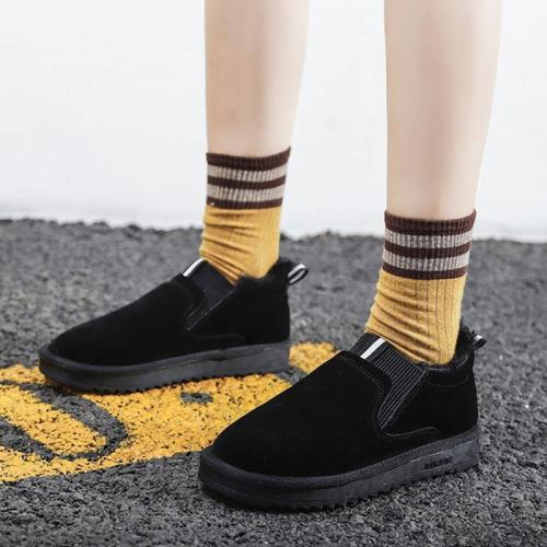 Flocking Platforms Flats Casual Velvet Lining Slip-On Shoes