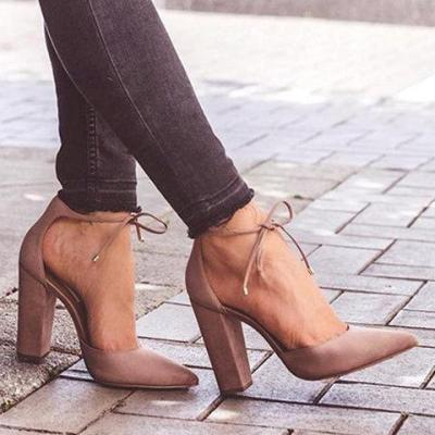 Large Size Pointed Toe Suede Lace-Up Pumps