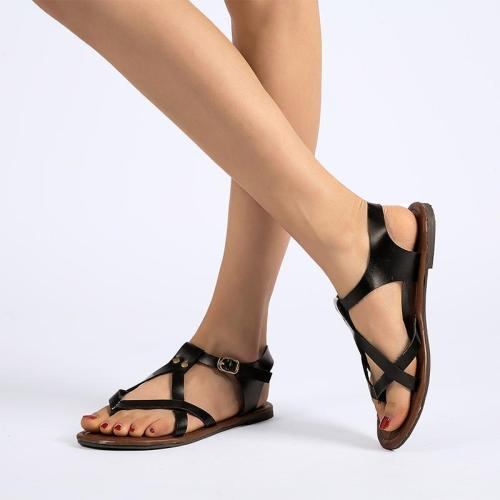 Women's PU Peep Toe Ethnic Style Beach Adjustable Buckle Flat Sandals