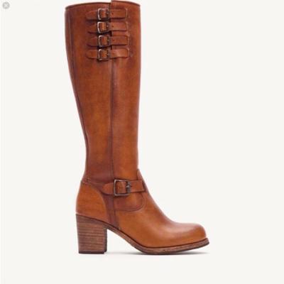 Brown Side Zipper Chunky High Heel Boots