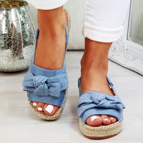 Sweet Bowknot Summer Low Heels Platform Buckle Sandals