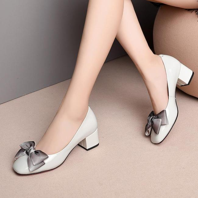 Genuine Leather Bowknot Date Chunky Heel Shoes