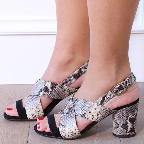 Women Snake Skin Chunky Heel Sandals