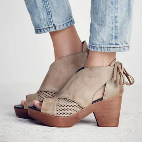 Tie Back Heeled Platform Lace-Up Hollow-Out Pu Pumps