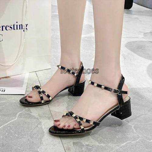 Sandals Women 2020 Summer New Cross Belt Buckle Transparent Dew Toe Thick Heels