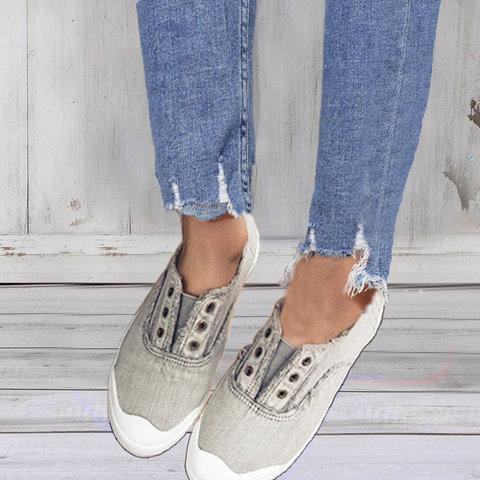 Women Retro Slip on Casual Canvas Non-slip Shoes