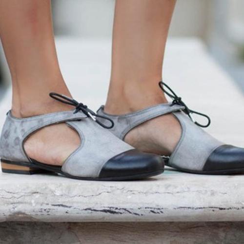 Bowknot Hollow Vintage Low Heel Color Block Sandals