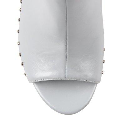 Peep Toe Platform Stiletto High Heel Rivet Ankle Boots