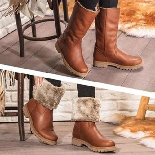 Women Plain Warm Folding Low-heel Boots
