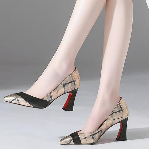Printed Genuine Leather Spool Heel Daily Heels