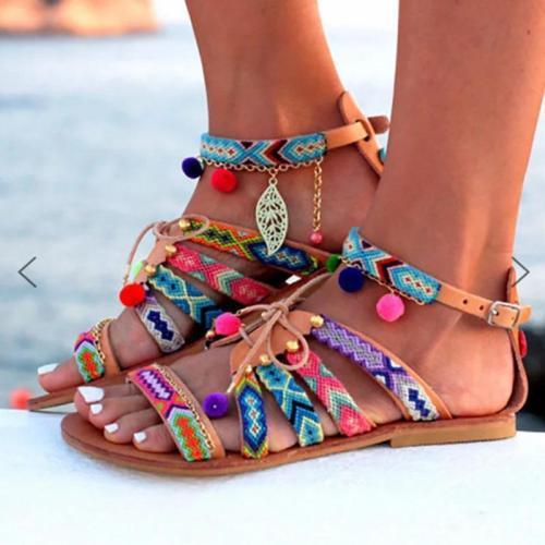 Summer Buckle Flat Bohemia Beach Sandals