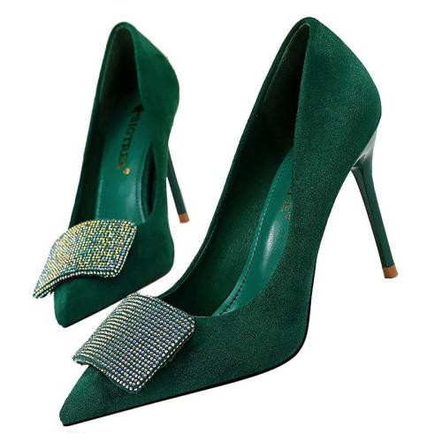 High Heels Crystal Glitter Pumps Lady Wedding Green Yellow Blue Heels Female
